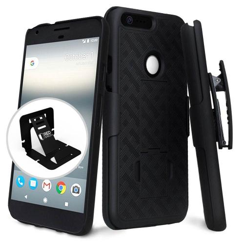 Google Pixel Case, [Black] Supreme Protection Slim Matte Rubberized Hard Plastic Case Cover with Kickstand and Swivel Belt Clip