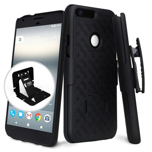 Google Pixel XL Case, [Black] Supreme Protection Slim Matte Rubberized Hard Plastic Case Cover with Kickstand and Swivel Belt Clip