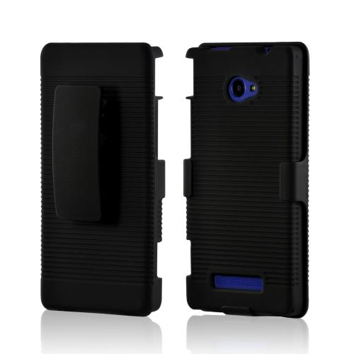 Black Rubberized Hard Case and Holster Combo w/ Stand & Clip for HTC 8X
