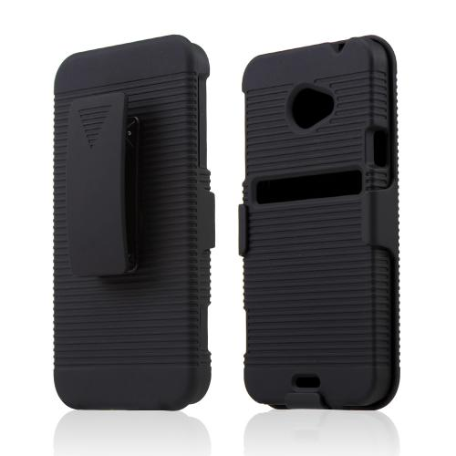 HTC EVO 4G LTE Black Rubberized Hard Case & Holster Combo w/ Kickstand & Swivel Belt Clip