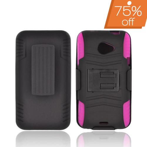HTC EVO 4G LTE Rubberized Hard Cover Over Silicone Case w/ Stand & Holster Stand w/ Swivel Belt Clip - Black/ Pink