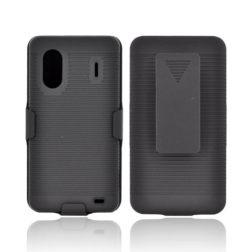 HTC EVO Design 4G Rubberized Hard Case w/ Holster Stand - Black