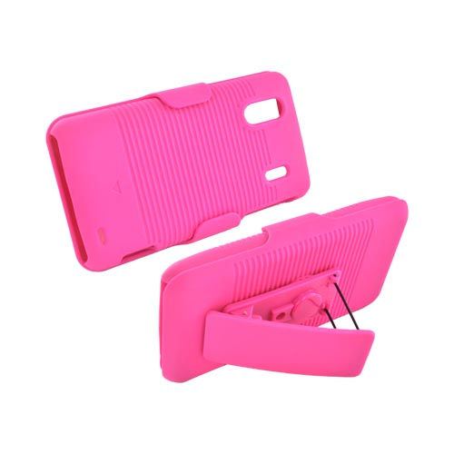 HTC EVO Design 4G Rubberized Hard Case w/ Holster Stand - Hot Pink