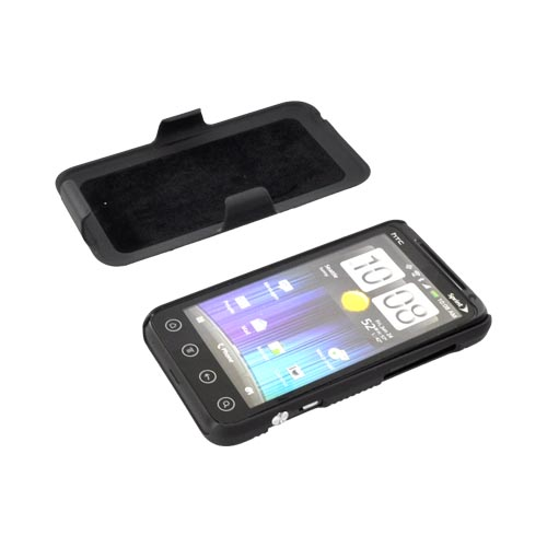 Premium HTC EVO 3D Rubberized Case & Holster Stand Combo - Black