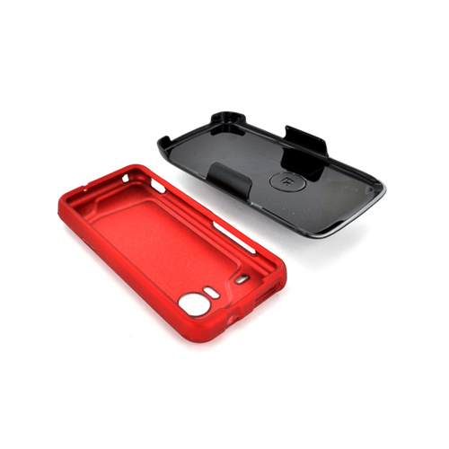 HTC Droid Incredible Rubberized Hard Case & Holster Combo w/ Screen Protector, Belt Clip & Stand - Red/ Black