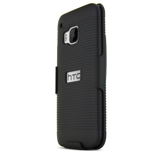 HTC One M9 Case,  [Black]  Supreme Protection Rubberized Plastic on Silicone Dual Layer Hybrid Case with Holster & Belt Clip