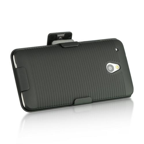 Black Rubberized Hard Case & Holster Combo w/ Kickstand & Swivel Belt Clip for HTC One Mini