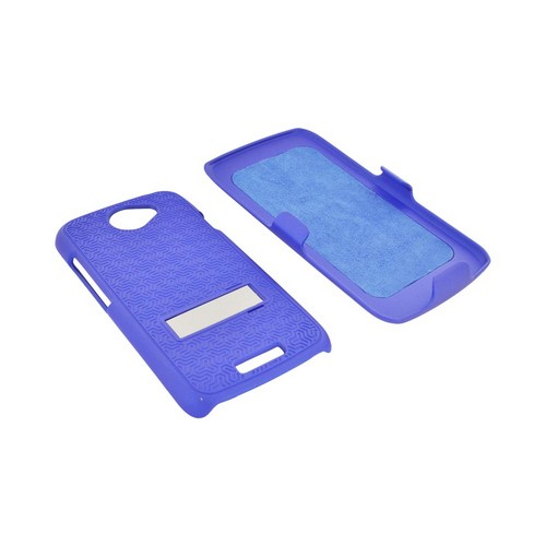 HTC One S Rubberized Hard Case w/ Metal Stand & Holster Stand w/ Swivel Belt Clip - Rippled Blue
