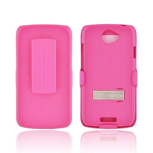 HTC One S Rubberized Hard Case w/ Metal Stand & Holster Stand w/ Swivel Belt Clip - Rippled Hot Pink