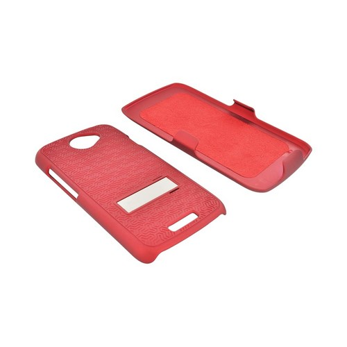 HTC One S Rubberized Hard Case w/ Metal Stand & Holster Stand w/ Swivel Belt Clip - Rippled Red
