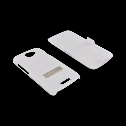HTC One S Rubberized Hard Case w/ Stand & Holster Stand w/ Swivel Belt Clip - Rippled White