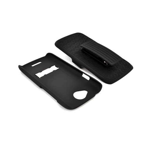 HTC One S Rubberized Hard Case w/ Holster Stand & Belt Clip - Textured Black