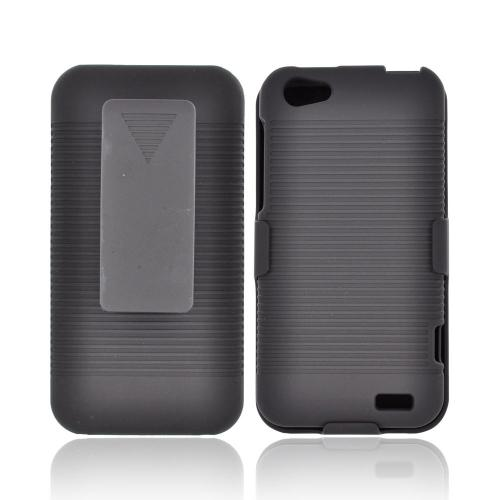 HTC One V Rubberized Hard Case & Holster Combo w/ Kickstand & Swivel Belt Clip - Black