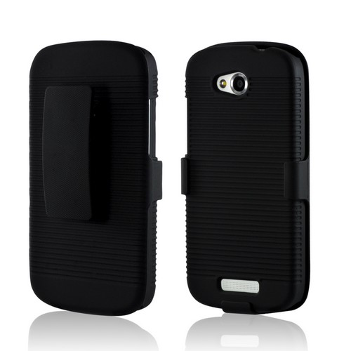 Black Rubberized Hard Case Holster Combo w/ Swivel Belt Clip & Kickstand for HTC One VX