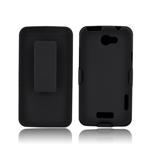 HTC One X Rubberized Hard Case w/ Holster & Swivel Belt Clip - Black