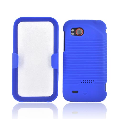 HTC Rezound Rubberized Hard Case w/ Holster Stand - Blue