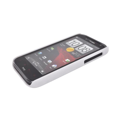 HTC Rezound Rubberized Hard Case w/ Holster Stand - Solid White
