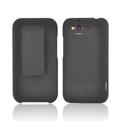 HTC Rhyme Rubberized Hard Case w/ Holster Stand - Black