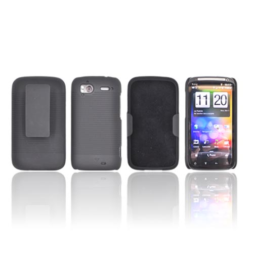 HTC Sensation 4G Rubberized Hard Case w/ Holster Stand - Black