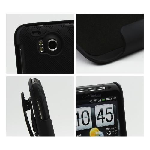 HTC Thunderbolt Rubberized Textured Hard Case & Holster w/ Rotating Belt Clip Combo - Black