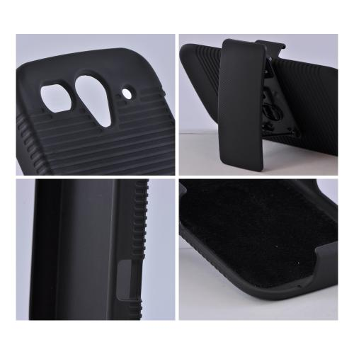 T-Mobile Huawei myTouch 2 Rubberized Hard Case w/ Holster Stand & Belt Clip - Black