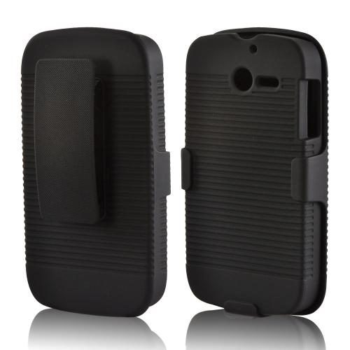 Black Rubberized Hard Case & Holster Combo w/ Kickstand & Swivel Belt Clip for Huawei Ascend Y