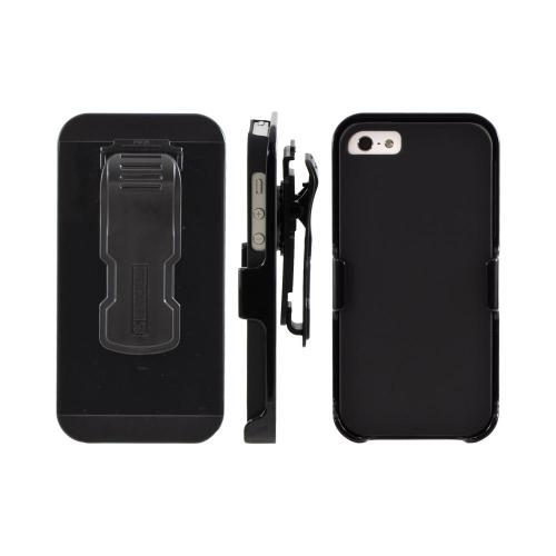 Manufacturers Apple iPhone 5/5S Rubberized Hard Case & Holster Combo w/ Screen Protector  Belt Clip & Stand - Black Cases