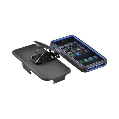 Apple iPhone 5/5S Hard Cover On Silicone Case w/ Aluminum Back & Holster  Stand & Belt Clip - Blue/ Black