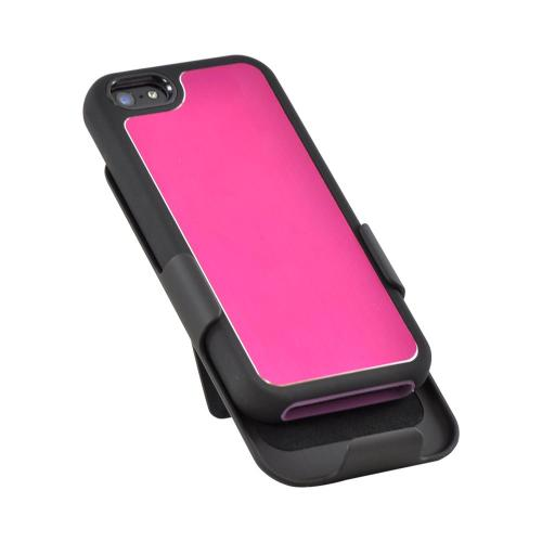 Apple iPhone SE / 5 / 5S Holster Case,  [Pink/ Black]  Supreme Protection Slim Matte Rubberized Hard Plastic Case Cover with Kickstand and Swivel Belt Clip