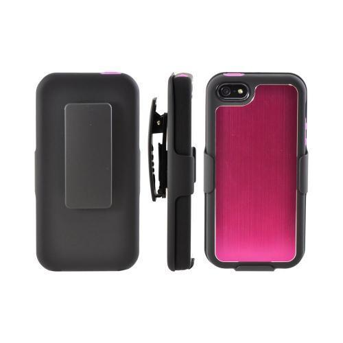 Apple iPhone 5/5S Hard Cover On Silicone Case w/ Aluminum Back & Holster  Stand & Belt Clip - Pink/ Black