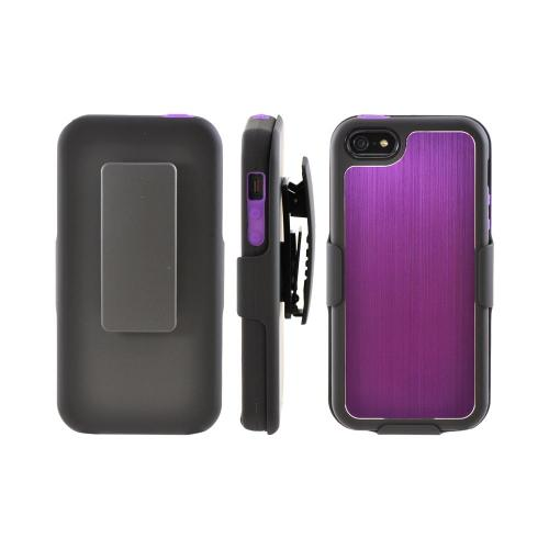 Apple iPhone 5/5S Hard Cover On Silicone Case w/ Aluminum Back & Holster  Stand & Belt Clip - Purple/ Black