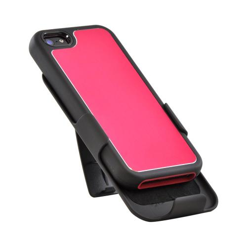 Apple iPhone SE / 5 / 5S Holster Case,  [Red/ Black]  Supreme Protection Slim Matte Rubberized Hard Plastic Case Cover with Kickstand and Swivel Belt Clip
