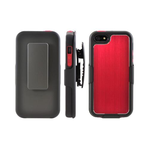Apple iPhone 5/5S Hard Cover On Silicone Case w/ Aluminum Back & Holster  Stand & Belt Clip - Red/ Black
