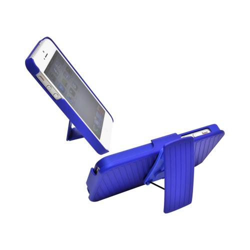 Apple iPhone SE / 5 / 5S Holster Case, REDshield [Blue]  Supreme Protection Slim Matte Rubberized Hard Plastic Case Cover with Kickstand and Swivel Belt Clip