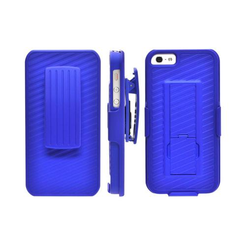 Apple iPhone SE / 5 / 5S Holster Case,  [Blue]  Supreme Protection Slim Matte Rubberized Hard Plastic Case Cover with Kickstand and Swivel Belt Clip