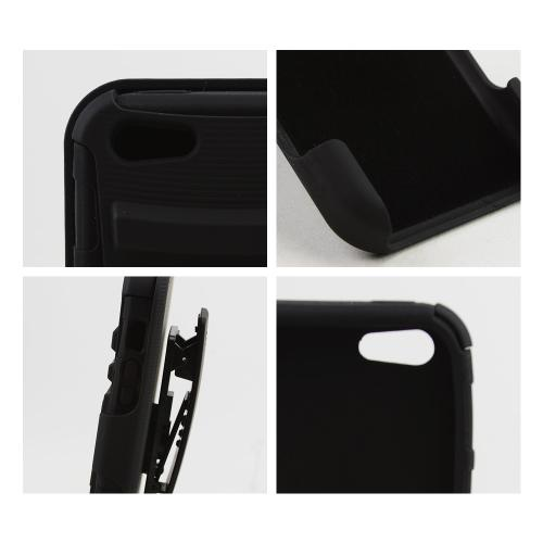 Apple iPhone 5C Holster Case, [Black] Hard Case w/ Kickstand on Silicone Skin Case w/ Holster