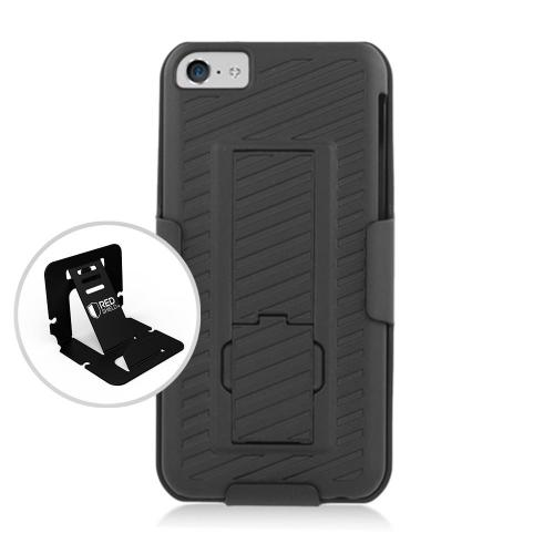 Apple iPhone 5C Holster Case, [Black] Shell + Holster + Kickstand Combo Case with Belt Clip