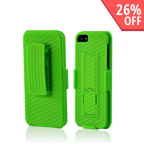 Apple iPhone 5/5S Rubberized Hard Case w/ Holster & Kickstand - Neon Green