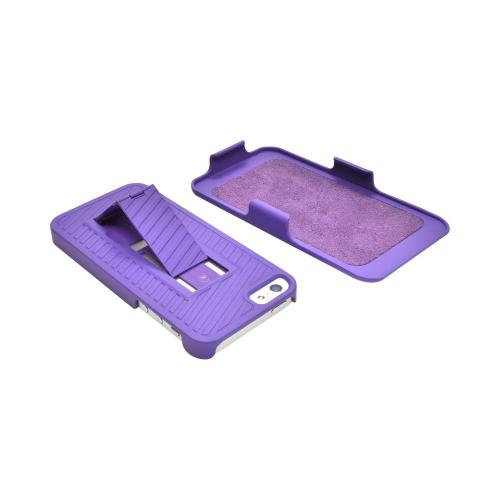 Apple iPhone 5/5S Rubberized Hard Case and Holster Combo w/ Stand & Clip - Purple