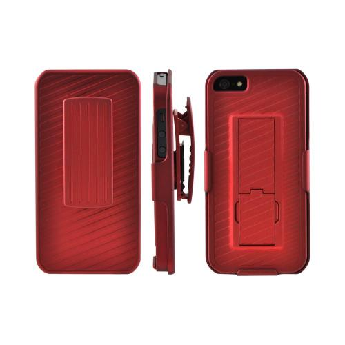 Apple iPhone 5/5S Rubberized Hard Case w/ Holster & Kickstand - Red