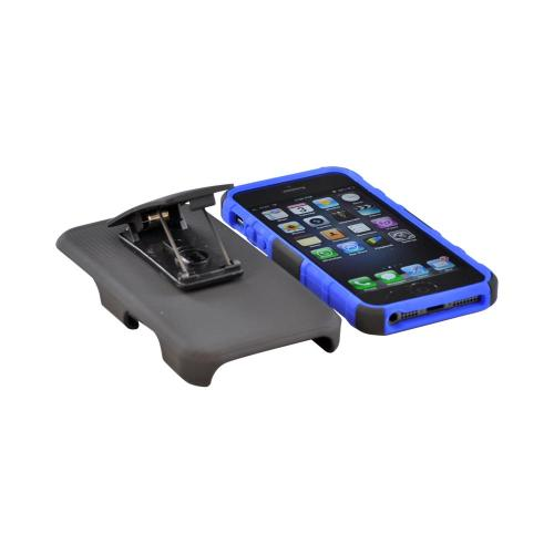 Apple iPhone 5/5S Rubberized Hard Cover Over Silicone Case w/ Stand & Holster Stand w/ Swivel Belt Clip - Blue/ Black