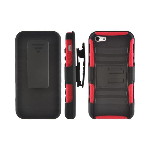 Apple iPhone 5/5S Rubberized Hard Cover Over Silicone Case w/ Stand & Holster Stand w/ Swivel Belt Clip - Black/ Red