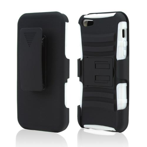 Apple iPhone 5/5S Rubberized Hard Cover Over Silicone Case w/ Stand & Holster Stand w/ Swivel Belt Clip - Black/ White