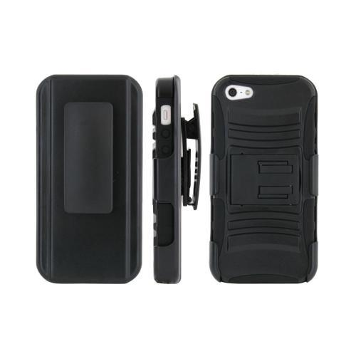 Premium Apple iPhone 5/5S Rubberized Hard Cover Over Silicone Case w/ Built-In Kickstand & Screen Protector - Black