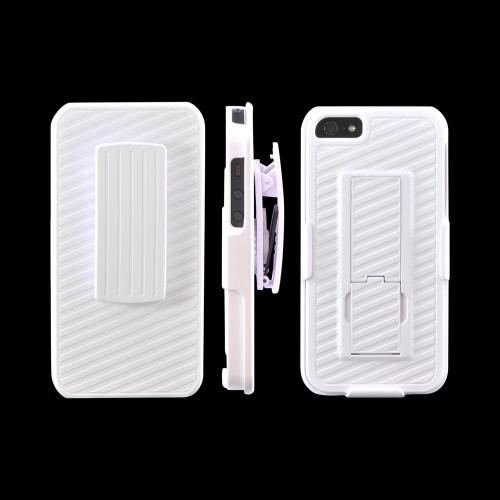 Apple iPhone 5/5S Rubberized Hard Case w/ Holster & Kickstand - White