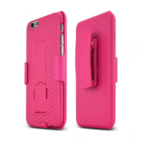 Apple iPhone 6/ 6S Case, [Hot Pink] Supreme Protection Slim Matte Rubberized Hard Plastic Case Cover with Kickstand and Swivel Belt Clip