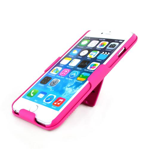 Apple iPhone 6 PLUS/6S PLUS (5.5 inch) Holster Case,  [Hot Pink]  Shell + Holster + Kickstand Combo Case with Belt Clip