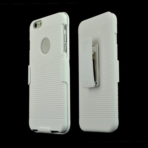 White Apple iPhone 6 Plus (5.5 Inches) Shell + Holster + Kickstand Combo Case with Belt Clip