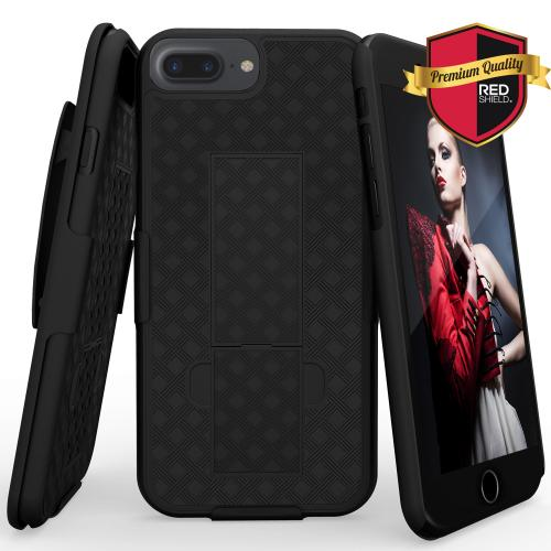 Apple iPhone 7 Plus (5.5 inch) Holster Case, REDshield [Black] Supreme Protection Slim Matte Rubberized Hard Plastic Case Cover with Kickstand and Swivel Belt Clip