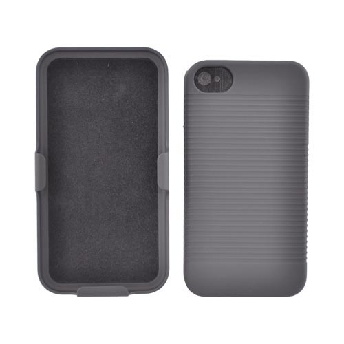 Premium AT&T/Verizon Apple iPhone 4, iPhone 4S Rubberized Holster and Case Combo - Black